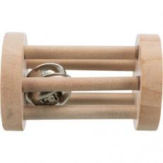 Dřevěný váleček s rolničkou, ø 3.4 × 6 cm