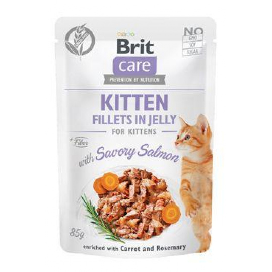 Brit Care Cat Fillets in Jelly Kitten with Salmon 85g