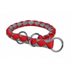 Nylonový obojek kulatý CAVO - červeno/stříbrný DOPRODEJ