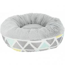 Hebký plyšový kulatý pelíšek pro hlodavce, ø 35 × 13 cm, barevná/šedá