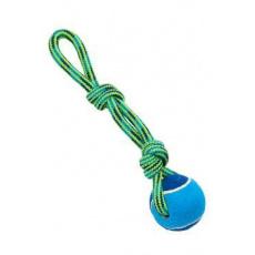 Hračka pes BUSTER Smyčka s tenisákem modr/zelená 30cm