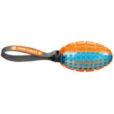 TPR termoplastový rugby míč s poutkem, 12cm/27cm oranž/modrá