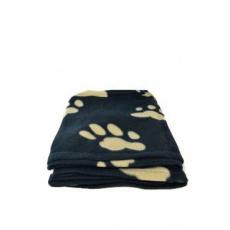 Deka pro psy BARNEY černá a hnědé tlapky 150x100cm TR
