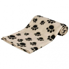 Flísová deka BEANY 100x70cm - béžová s černými tlapkami