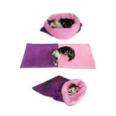 Spací pytel 3v1 fialová/sv.růžová XL kočka k.28