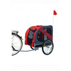 Vozík přívěsný za kolo pro psa 125x95x72cm šedá/červen