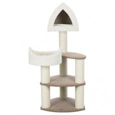 Škrábadlo MARCY Soft, 130cm, 3 sloupky, 3 patra, bouda, lůžko, krémové - DOPRODEJ