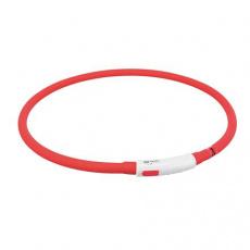 Flash USB svítící obojek XS-XL 70 cm / 10 mm,  - červená (RP 2,10 Kč)
