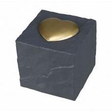 Náhrobní kámen kostka se srdíčkem, šedá 11 x 11 x 11 cm
