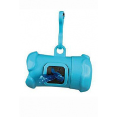 Pouzdro plast +sáčky na psí exkrementy KOST modrá TR