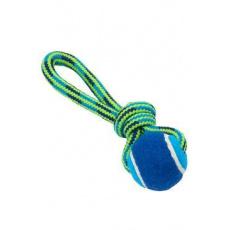 Hračka pes BUSTER Smyčka s tenisákem modr/zelená 18cm