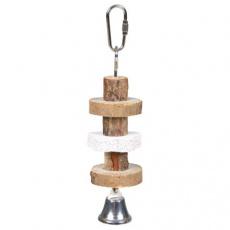 Natural Living-dřevěná kolečka, lávový kámen pro ptáky 16cm