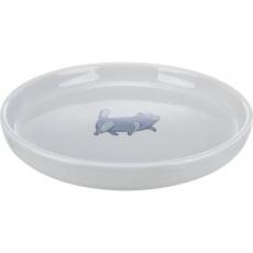 Keramická miska pro kočky, nízká a široká, 0.6 l/ø 23 cm, šedá