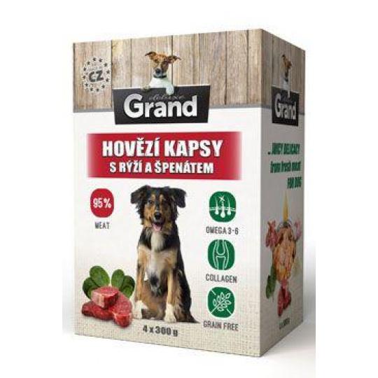 GRAND kaps. deluxe pes hovězí s rýží a špenát. 4x300g