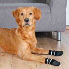 Protiskluzové ponožky černé M-L, 2 ks pro psy bavlna/lycra