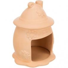 Keramický domek pro myši - vejce s kloboučkem,  ø 11 × 14 cm, terakota