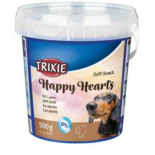 Soft Snack Happy Hearts - srdíčka jehněčí s rýží, kyblík 500 g