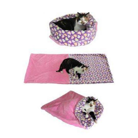 Spací pytel 3v1 růžová/srdíčka XL kočka k.26