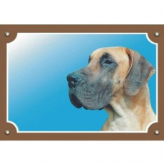 Barevná cedulka Pozor pes, Doga německá