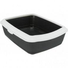 CLASSIC toaleta pro kočky, s okrajem, 37 x 15 x 47 cm, šedá/bílá