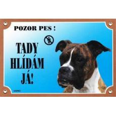Barevná cedulka Pozor pes, Boxer německý