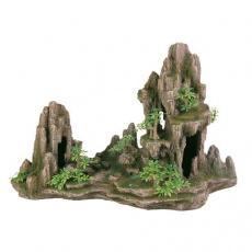 Dekorace skála + jeskyň a rostliny 45 cm - DOPRODEJ