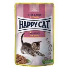 Happy Cat kapsa Meat in Sauce Kitten&Junior Drůbež 85g